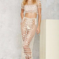 For Love & Lemons St. Tropez Lace Crochet Skirt