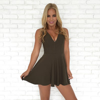 Multi Faceted Skort Dress In Olive