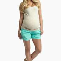 Mint-Green-Linen-Maternity-Shorts
