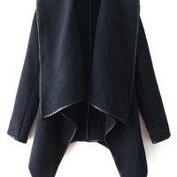 PU Leather Splicing Long Sleeve Coat