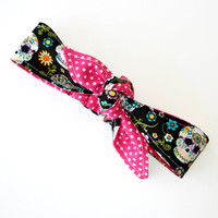 Reversible Baby Toddler Pre-tied Head Scarfs Day of the Dead Sugar Skulls over Hot Pink Polka Dots Cinco De Mayo Headband Hair Accessory