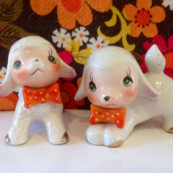 Vintage Pair of Lambs Cute and Kitsch 1950's Figurines