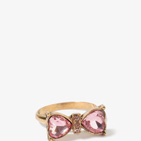 Rhinestoned Heart Bow Ring | FOREVER 21 - 1030186906