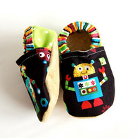 Robot Bison Booties Size 18 to 24 Months Toddler Child Ready to Ship Size 5/6