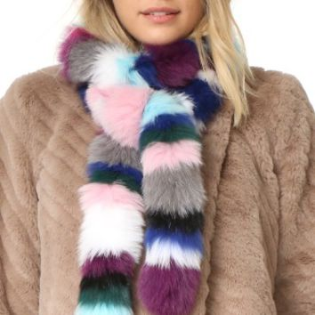 Rainbow Twist Fur Scarf