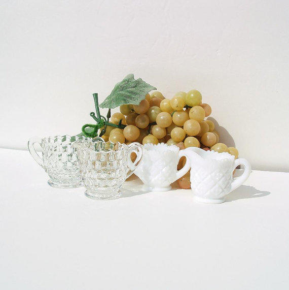 Miniature Cream and Sugar Sets, Vintage Milk Glass, Fostoria Glass, Sugar Creamer