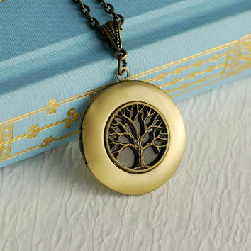 Gold Tree of Life Locket Necklace, brass antique style photo message nature family trees pendant Mothers Day birthday gift