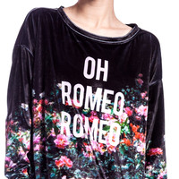 Wildfox Couture Oh Romeo Rose Garden Sweater Black