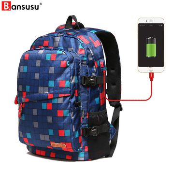 USB Charging Backpacks Student College Waterproof Backpack Men Women Escolar Mochila Quality Brand Laptop Bag School Bacpack