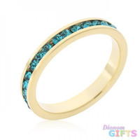 Stylish Stackables Turquoise Crystal Gold Ring (size: 10)