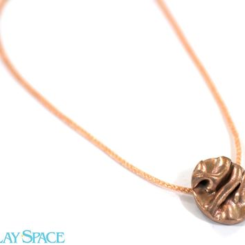 Fabric Pendant. Copper Pendant Necklace. Rose Gold Necklace. 3d Jewelry. Rose Gold Chain. Flowing Fabric Pendant. Metal Clay Pendant.