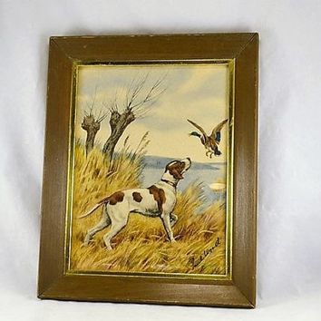 Paul Wood Duck & English Pointer Dog Framed Etching Print - 1930s 40s Canard - Duck Hunter Wildlife Print