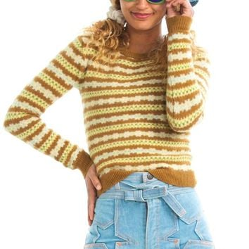 Vintage 80's Cumin Striped Sweater - XS