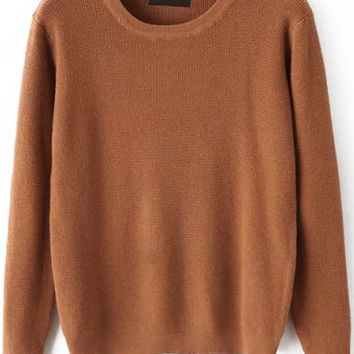 Khaki Round Neck Long Sleeve  Sweater