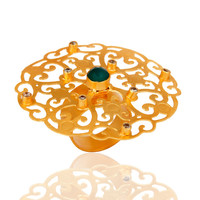 18k Yellow Gold Plated Large Round Filigree Modern Womens Party Wear Rings
