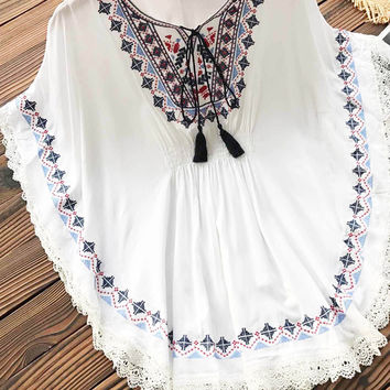 Cupshe Beautiful And White Embroidered Top