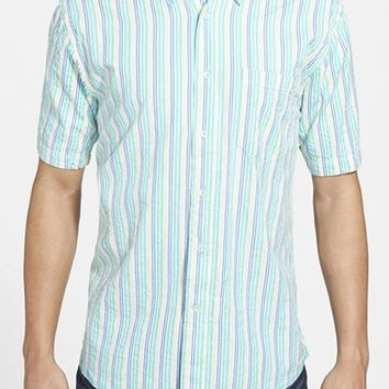 Men's Vintage 1946 Regular Fit Short Sleeve Stripe Seersucker Sport Shirt