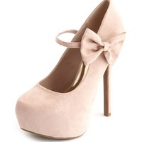 Nude Suede Heels with Bow