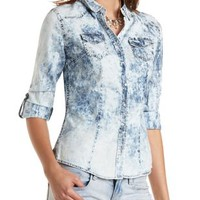 Acid Wash Chambray Button-Up Top by Charlotte Russe