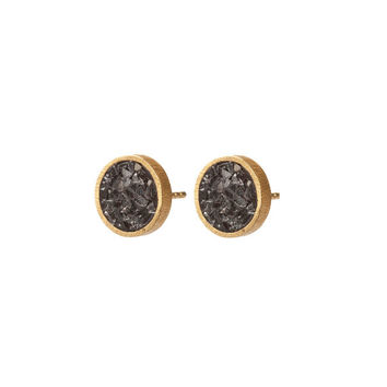 Black Rose Cut Diamond Round Stud Earrings - Black Rose Cut Diamond Earrings - 24k Gold Plated Earrings - 925 Sterling Silver Earrings