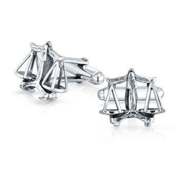 Attorney Judge Lawyer Scales of Justice Libra Cuff Sterling Silver