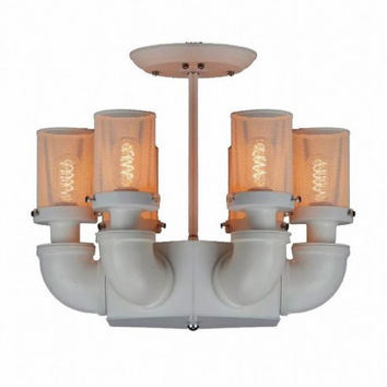 Countryside iudustrial vintage bar counter living room coffee bar pipe 6 lights edison ceiling lamp light