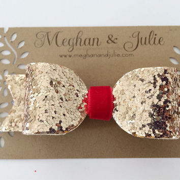 Rose Gold and Red Glitter Hair Bow / Sparkling Hair Clip / Gold glitter bow / Light Gold Hair Clip / Meghan and Julie by Meghanandjulie