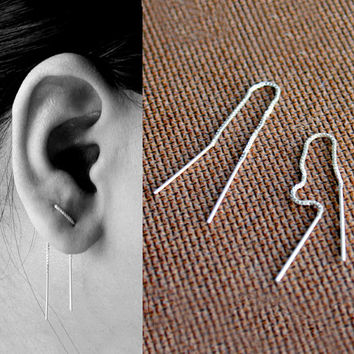 Silver Ear Thread Earrings - Sterling Silver Threader Earrings – Minimalist Thread Pull Through Earrings