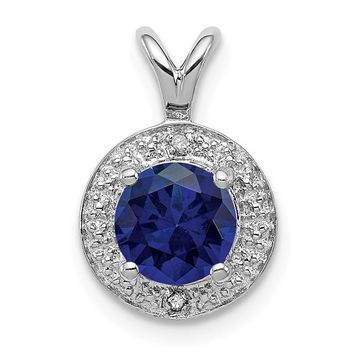 Sterling Silver Diamond And Round Created Blue Sapphire Halo-Style Pendant