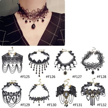 Gothic Victorian Crystal Tassel Tattoo Choker Necklace Black Lace Choker Collar Vintage Women Wedding Jewelry