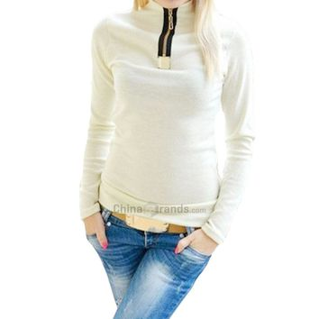 Stylish Zipper Design Turtleneck Long Sleeve Patchwork Solid T-Shirt for Women