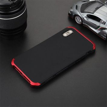 R-JUST Luxury Armor Funda Coque Cover For iPhone X 8 5 5S SE 6 6S Plus 7 PLUS CASES Metal Aluminum Heavy Duty Phone Protect Case