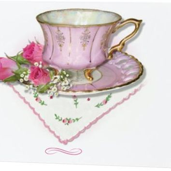 Pink Tea Cup Blank Greeting Card