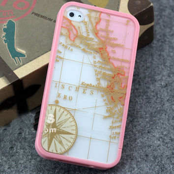 Pink Travel Map iPhone Case 4 4G 4S Hard Case Skin Screen Protector