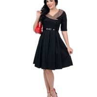 1950s Style Black & Leopard Winnie Swing Dress