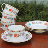 Raynaud Ceralene Limoges Vieux Chine Cup and Saucer (Set of 4) - Vintage china, French Limoges, teacups