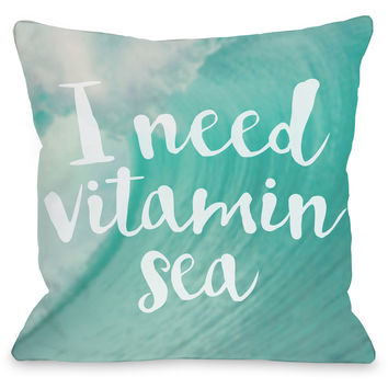 """Vitamin Sea"" Outdoor Throw Pillow by OneBellaCasa, 16""x16"""