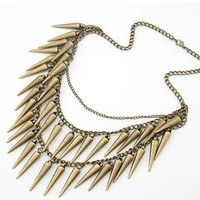 1- Spike Charm Necklace Antique Bronze Dangling Spiked Layered Chain Punk Rock Trendy Finished Necklace