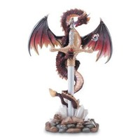 Gifts & Decor Majestic Red Dragon Sword in Stone Figurine Display