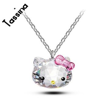 Tassina Silver color Korea KT Crystal Cute hello kitty bow Cat Necklaces Pendants Fashion Jewelry for women TAML001 neckless