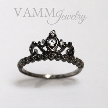 PRINCESS Crown Ring BLACK (Sterling Silver/925)