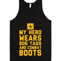 My Hero Wears Dog Tags And Combat Boots-Unisex Black Tank
