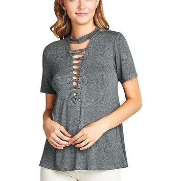 Crisscross lace up tee