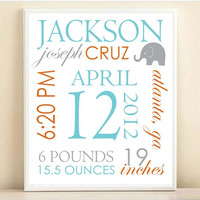 Nursery Art Birth Stats Modern Elephant Baby Boy Custom Name Typography Nursery Decor Print: 8x10 or 11x14 Poster in Aqua Gray Orange