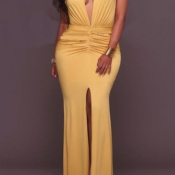 Yellow Plain Pleated Slit Mermaid Prom Evening Party Maxi Dress