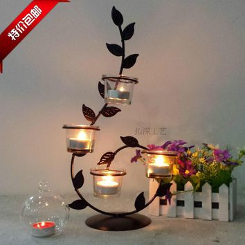 Romantic Candlelight Dinner, Wrought Iron Candlestick Roses  Candle Holders