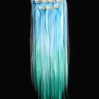 18'' 6pcs Synthetic Ombre Dip Dyed Hippie Hair Human Extension Clip in 27colors WGY40 Pink / White / Red