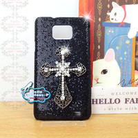Personalized Phone Case Studded Galaxy S2 Case Plastic Galaxy S2 Case Cell Phone Case Cover Glitter Samsung Galaxy S2 i9100 Plastic Case