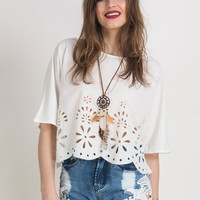 White Laser Out Half Sleeves Blouse
