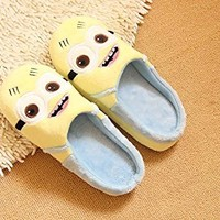 Despicable Me Cartoon Plush Slipper Minions Soft Indoor Shoes (EU38-39, two-eye)